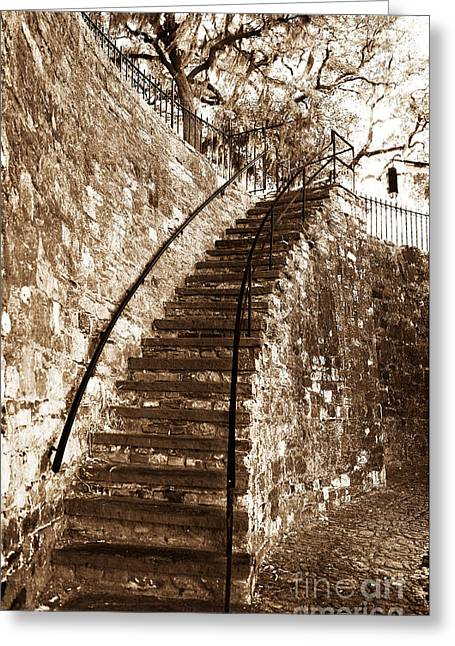Photo Art Gallery Greeting Cards - Retro Stairs in Savannah Greeting Card by John Rizzuto
