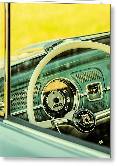 Beetle Car Interior Greeting Cards - Retro styled image of the interior of a Volkswagen Beetle Greeting Card by Martin Bergsma