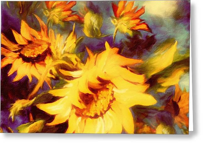 Retro Sunflowers Greeting Card by Georgiana Romanovna