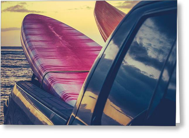 Retro Surf Boards In Truck Greeting Card by Mr Doomits