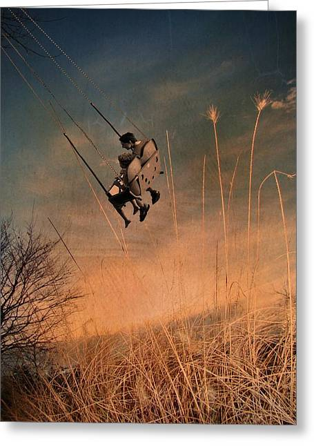 Vintage Style Photograph Greeting Cards - Retro Swinging Greeting Card by Gothicolors Donna Snyder