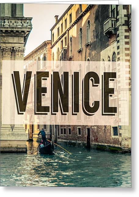 Retro Venice Grand Canal Poster Greeting Card by Mr Doomits