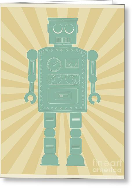 Automated Digital Art Greeting Cards - Retro vintage toy robot  Greeting Card by Shawn Hempel