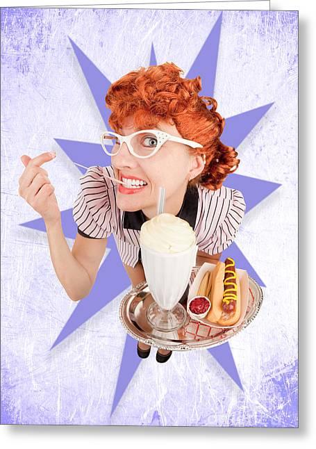 Waitress Greeting Cards - Retro Waitress Greeting Card by Sharon Dominick