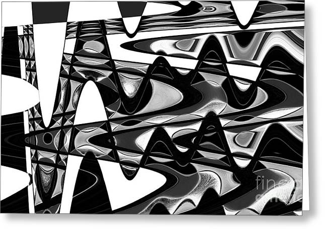 Bathroom Prints Greeting Cards - Retro Waves Abstract - Black and White Greeting Card by Natalie Kinnear