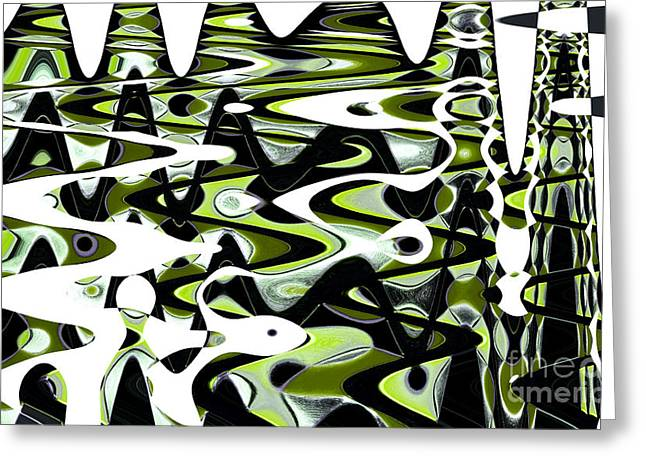 Front Room Digital Greeting Cards - Retro Waves Abstract - Lime Green Greeting Card by Natalie Kinnear