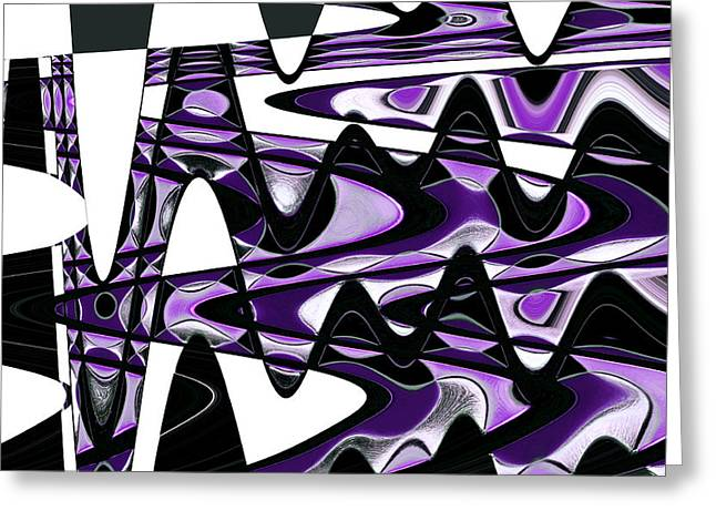 Bathroom Prints Greeting Cards - Retro Waves Abstract - Purple Greeting Card by Natalie Kinnear