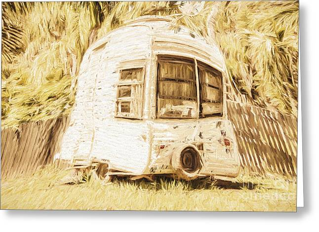 Summer Camps Greeting Cards - Retrod the comic caravan Greeting Card by Ryan Jorgensen
