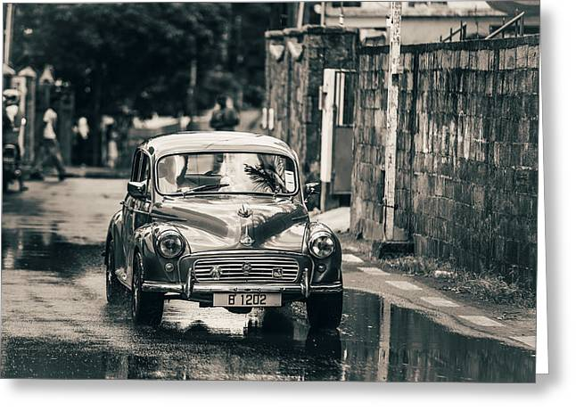 Antic Car Greeting Cards - RetroMobile. Morris Minor. Vintage Monochrome Greeting Card by Jenny Rainbow
