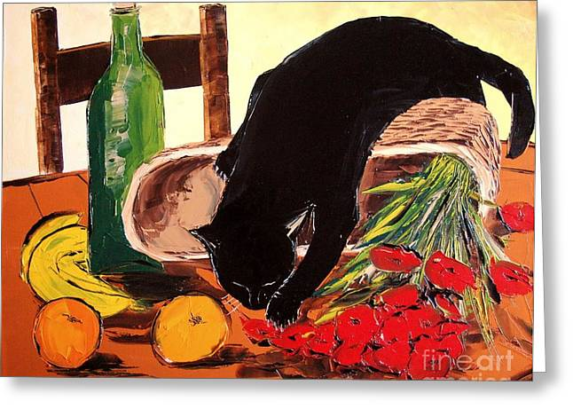 Red Cat Wine Greeting Cards - Return Market With Black Cat Greeting Card by Atelier De  Jiel