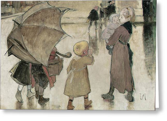 Returning Greeting Cards - Return To School Oil On Panel Greeting Card by Henri Jules Jean Geoffroy