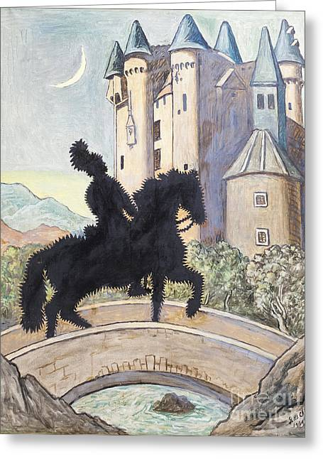 Chirico Greeting Cards - Return to the castle by Giorgio de Chirico Greeting Card by Roberto Morgenthaler