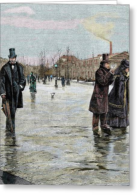 Returning From A Funeral Greeting Card by Prisma Archivo