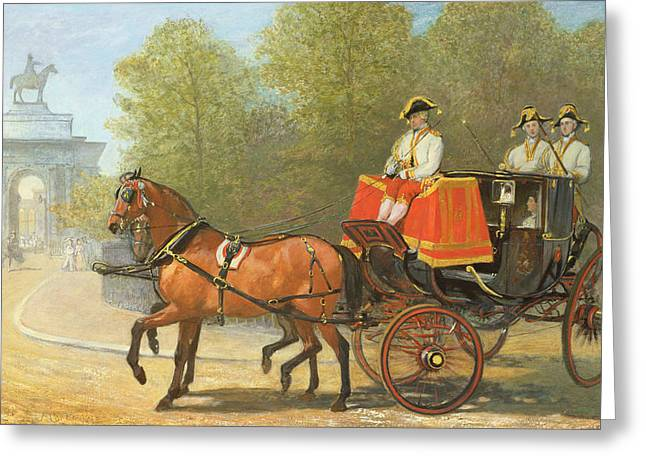 Equestrian Prints Greeting Cards - Returning from Her Majestys Drawing Room Greeting Card by Alfred Corbould