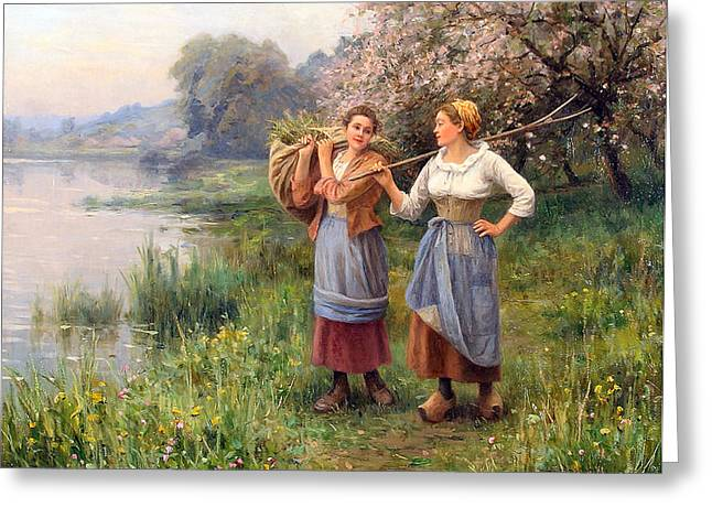Apron Greeting Cards - Returning from the Field Greeting Card by Paul J Blondeau