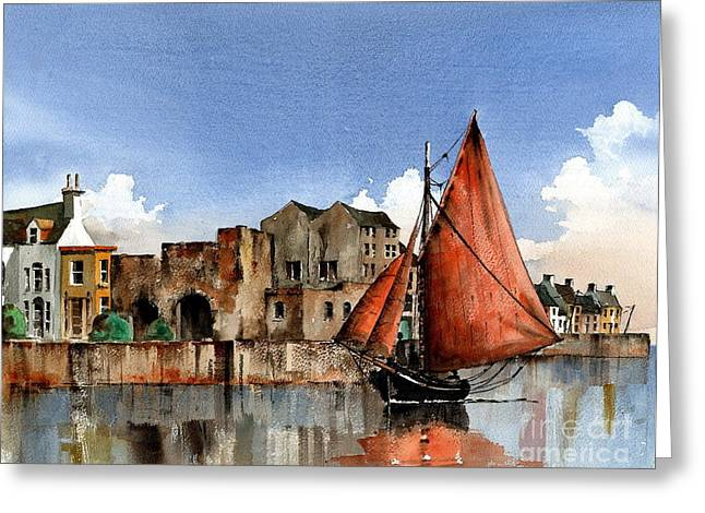 Val Byrne Greeting Cards - GALWAY Returning home   Greeting Card by Val Byrne