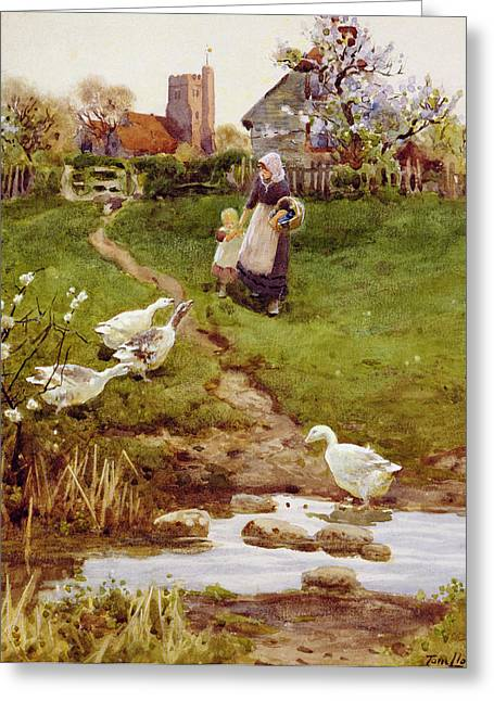 Mother Goose Greeting Cards - Returning Home, 1894 Wc On Paper Greeting Card by Thomas James Lloyd