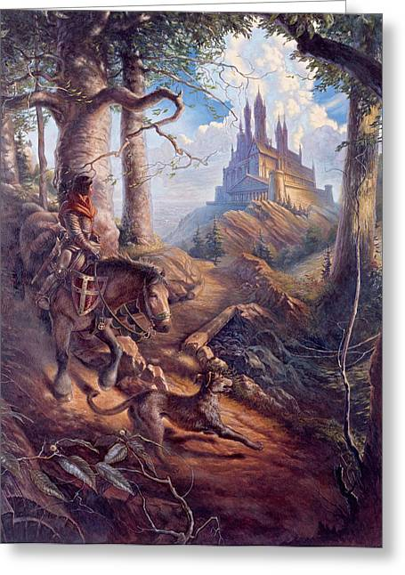 Knights Castle Paintings Greeting Cards - Returning Home Greeting Card by D Brent Burkett