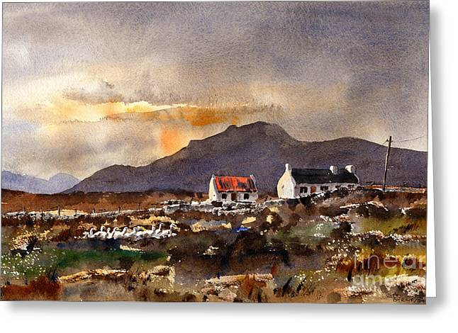 Val Byrne Greeting Cards - Returning Home in Achill Greeting Card by Val Byrne