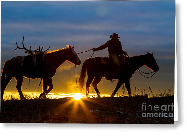 Folks Humans Greeting Cards - Returning Home Greeting Card by Inge Johnsson