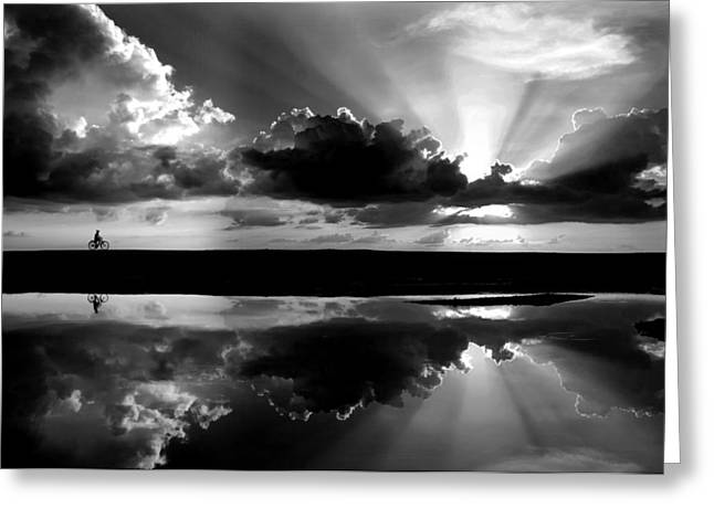 Reflections Of Sun In Water Greeting Cards - Returning Home Greeting Card by Partha Pal