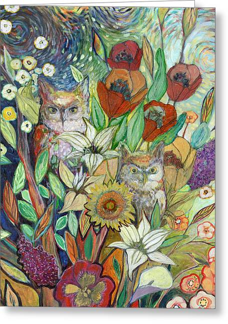 Abstract Owl Greeting Cards - Returning Home to Roost Greeting Card by Jennifer Lommers
