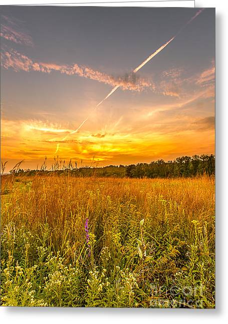 Blending Photographs Greeting Cards - Retzer Firy Sunset Greeting Card by Andrew Slater