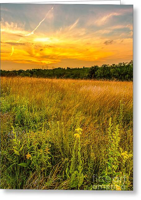 Blending Photographs Greeting Cards - Retzer Prairie Sunset Greeting Card by Andrew Slater