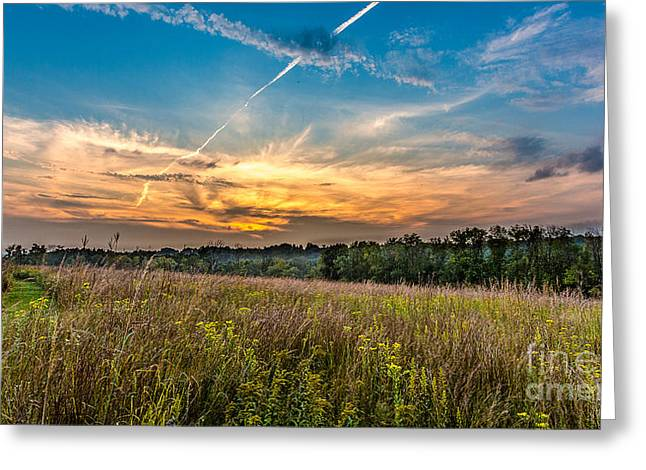 Field. Cloud Greeting Cards - Retzer Sunset Stretch Greeting Card by Andrew Slater