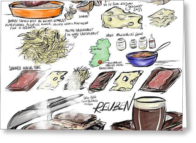 Culinary Drawings Greeting Cards - Reuben Sandwich Greeting Card by Lisa Owen-Lynch