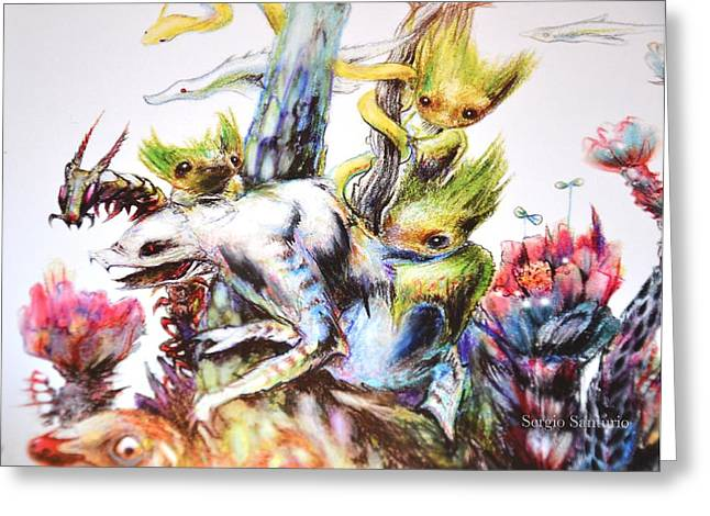 Reunion Del Bosque Fragmento Bestiarium Greeting Card by Sergio Santurio