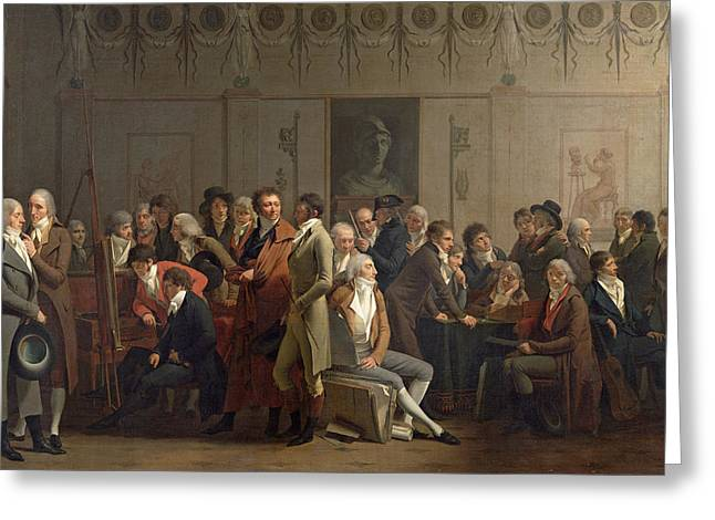 Conversations Photographs Greeting Cards - Reunion Of Artists In The Studio Of Isabey, 1798 Oil On Canvas Greeting Card by Louis Leopold Boilly