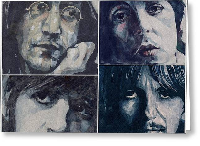 Beatles John Lennon Paul Mccartney George Harrison Ringo Starr Music Rock Icon Greeting Cards - Reunion Greeting Card by Paul Lovering