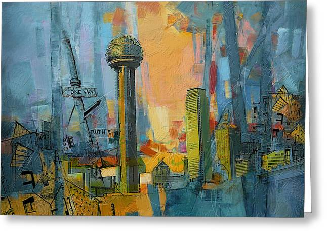 Dallas Paintings Greeting Cards - Reunion Tower Greeting Card by Corporate Art Task Force