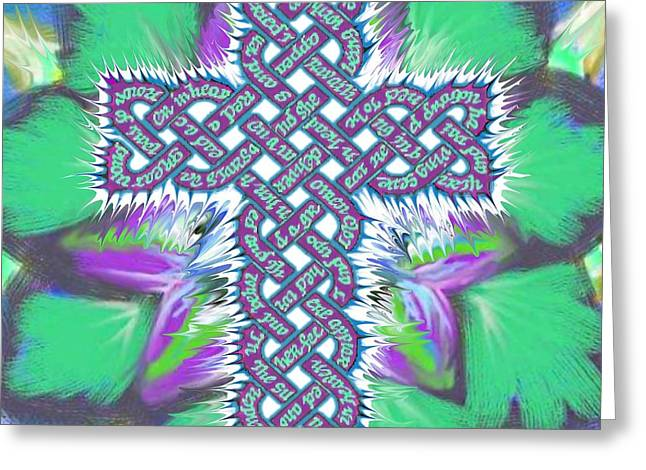 Christian Tapestries - Textiles Greeting Cards - Rev 12 Cross Flower Greeting Card by Hidden  Mountain