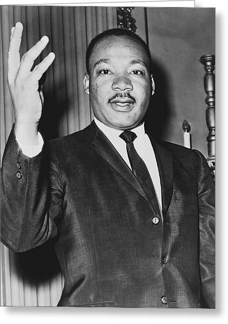 Negro Greeting Cards - Rev. Martin Luther King Greeting Card by Dick DeMarsico