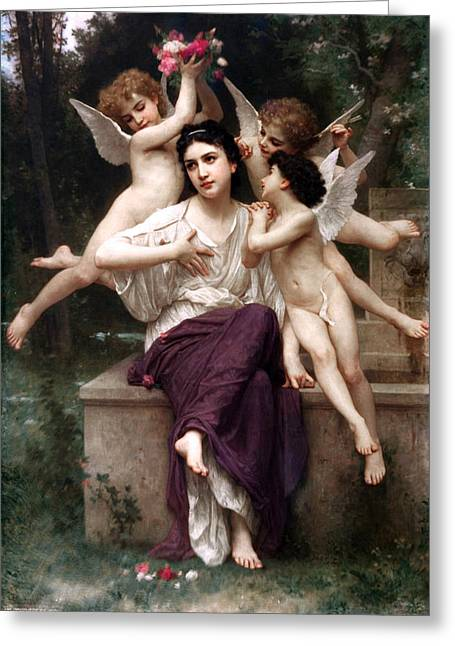 1901 Greeting Cards - Reve de printemps Greeting Card by William-Adolphe Bouguereau