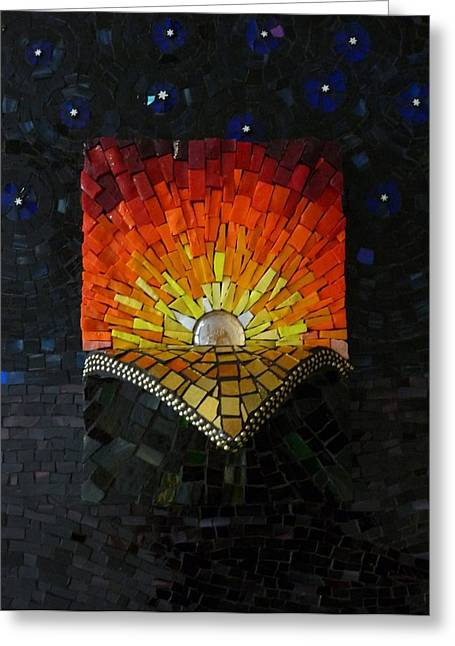 Dawn Glass Art Greeting Cards - Reveal the Day Greeting Card by Julie Mazzoni