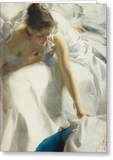Reveil Greeting Card by Anders Zorn