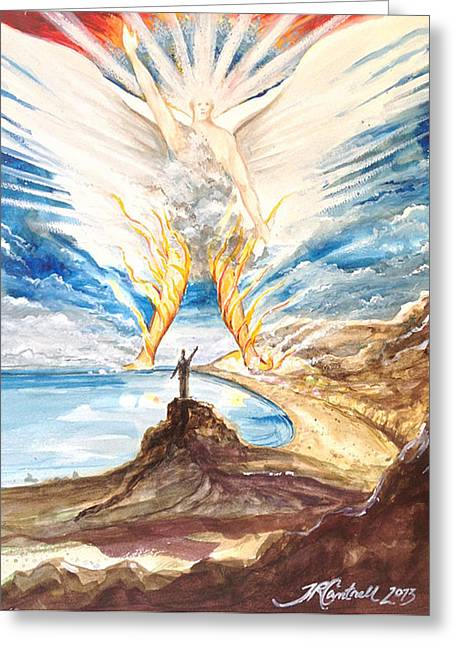 Revelation 10 Angel Greeting Card by Ron Cantrell