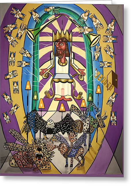 Lion And Lamb Greeting Cards - Revelation Chapter 4 Greeting Card by Anthony Falbo