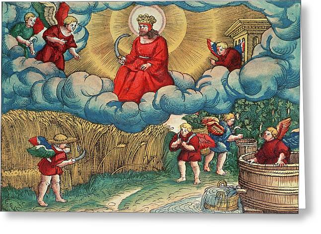 Scythe Greeting Cards - Revelations 1414 The Reaper, Vision Of Armageddon, From The Luther Bible, C.1530 Coloured Woodcut Greeting Card by German School
