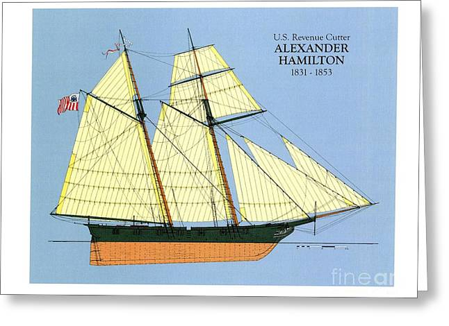 Tall Ships Drawings Greeting Cards - Revenue Cutter Alexander Hamilton Greeting Card by Jerry McElroy - Public Domain Image