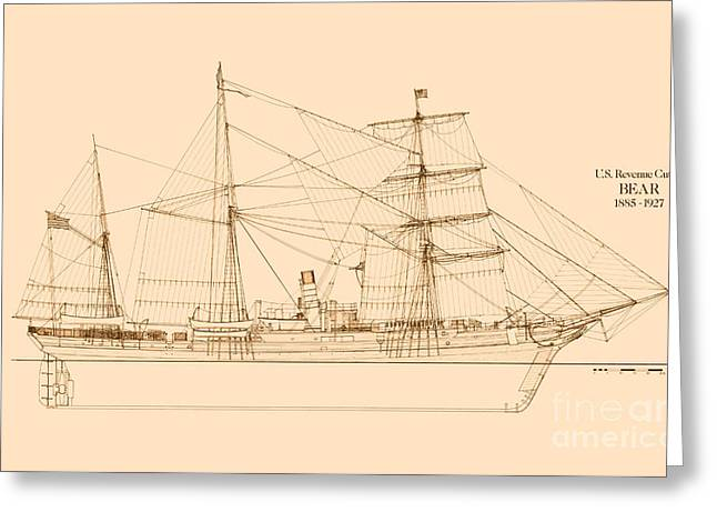 Tall Ships Drawings Greeting Cards - Revenue Cutter Bear Greeting Card by Jerry McElroy - Public Domain Image