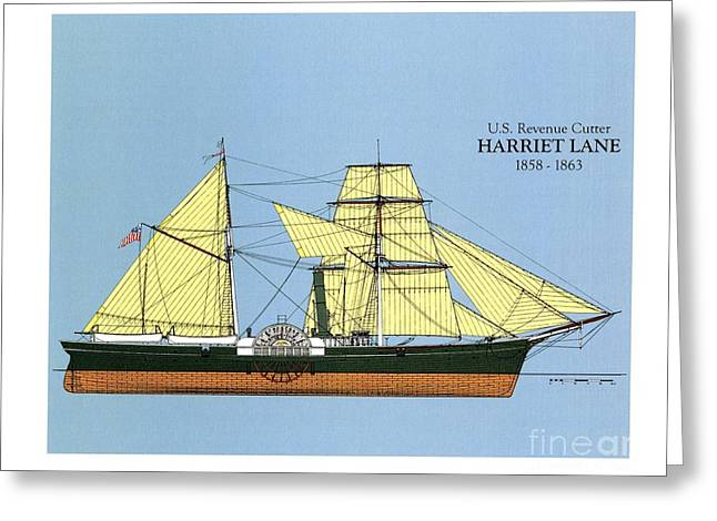 Tall Ships Drawings Greeting Cards - Revenue Cutter Harriet Lane Greeting Card by Jerry McElroy - Public Domain Image