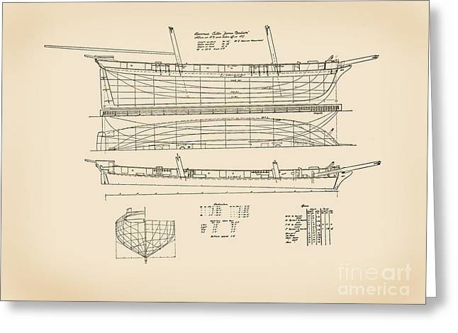 Tall Ships Drawings Greeting Cards - Revenue Cutter James Madison Greeting Card by Jerry McElroy - Public Domain Image