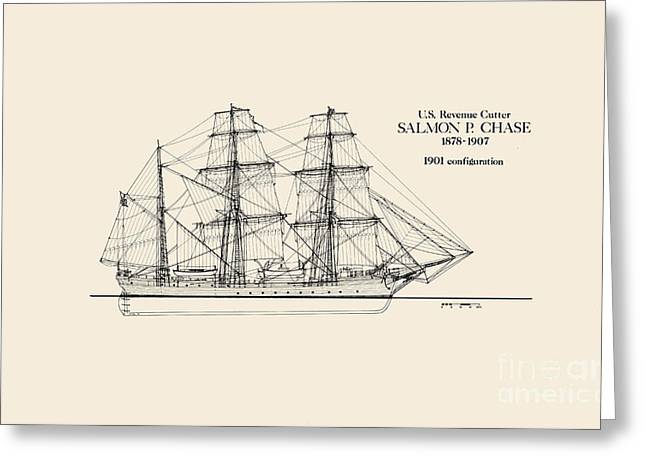 Salmon Drawings Greeting Cards - Revenue Cutter Salmon P. Chase Greeting Card by Jerry McElroy - Public Domain Image