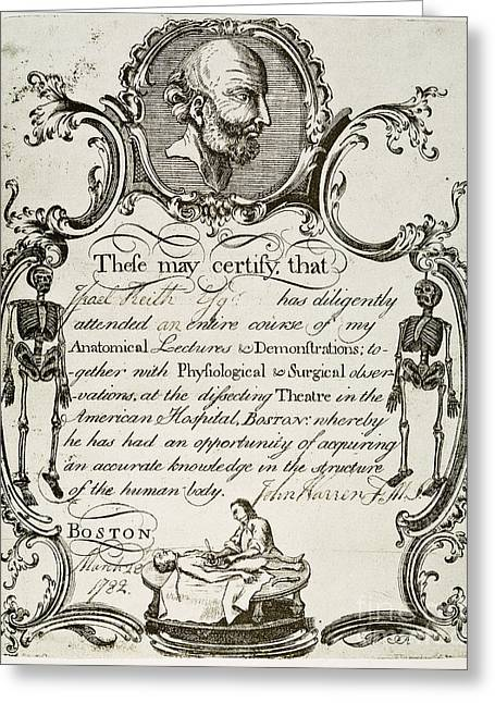 1782 Greeting Cards - Revere: Certificate, 1782 Greeting Card by Granger
