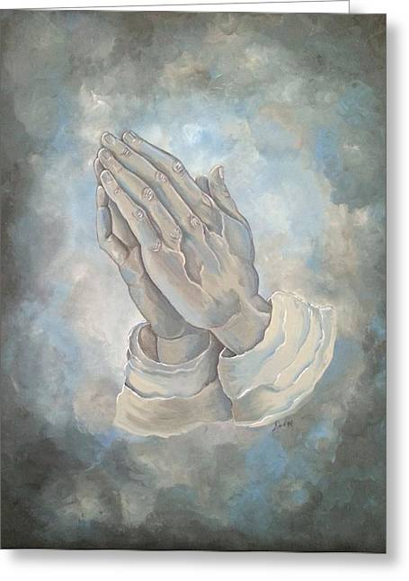 Praying Hands Paintings Greeting Cards - Reverence Greeting Card by Deborah  Heins