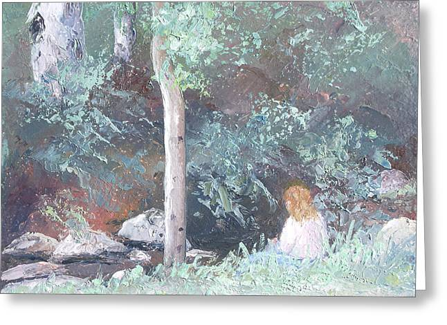 Impressionist Creek Oil Paintings Greeting Cards - Reverie Greeting Card by Jan Matson